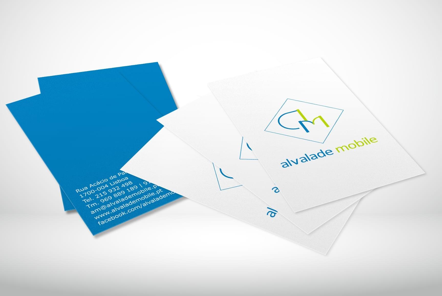 Mockup de cartões de visita da loja Alvalade Mobile