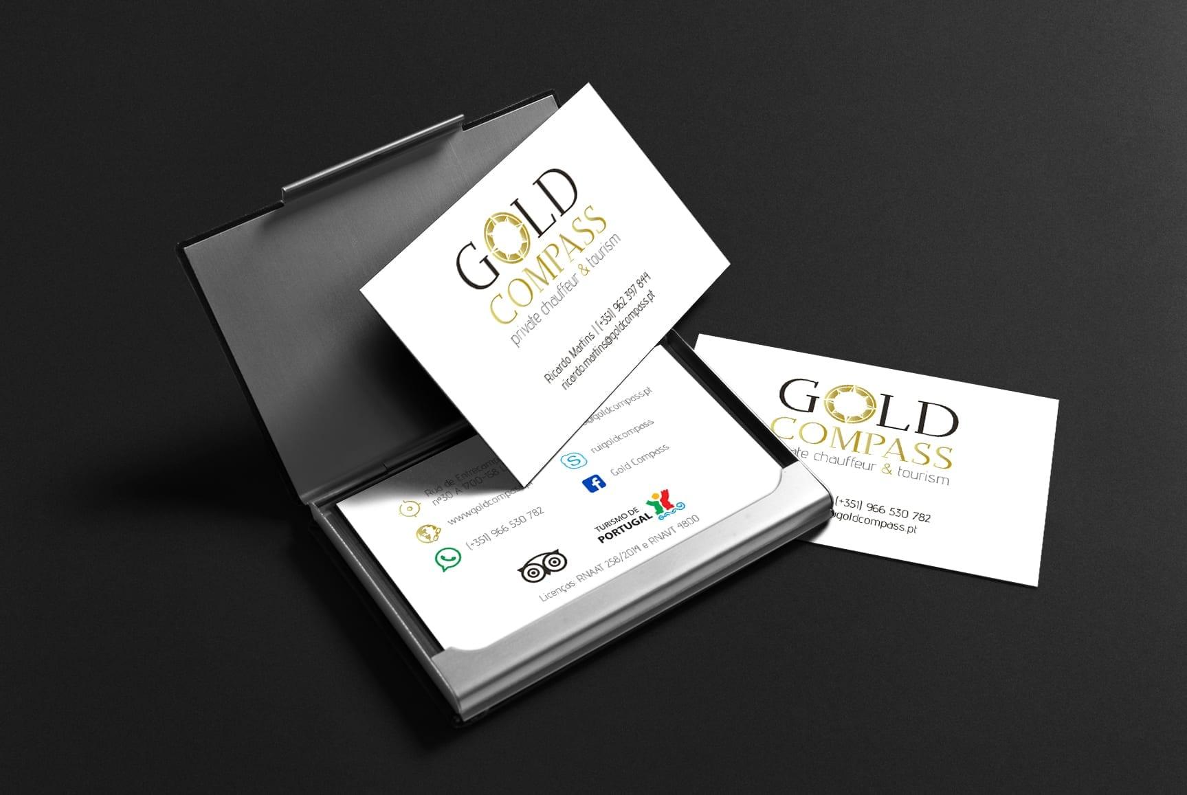 Mockup de cartões de visita para a Gold Compass