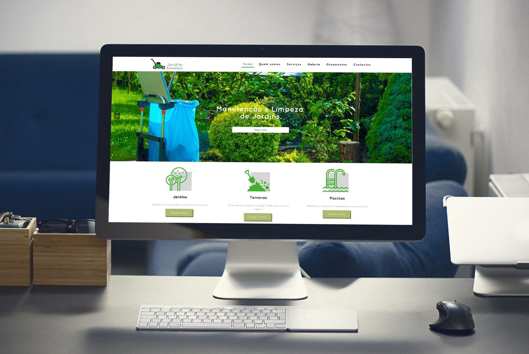 Maquete para desktop do website para empresa de jardinagem