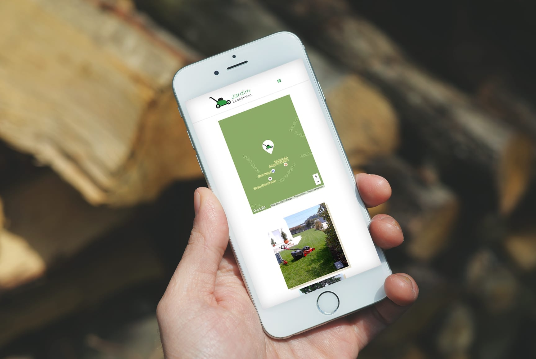 Telemóvel com layout responsivo do website Jardim Económico