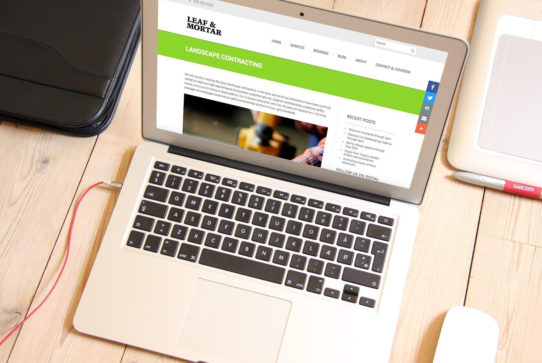 Layout responsivo da homepage do website Leaf & Mortar