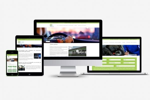 Mockup de equipamentos responsivos com vários layouts do site Inspama