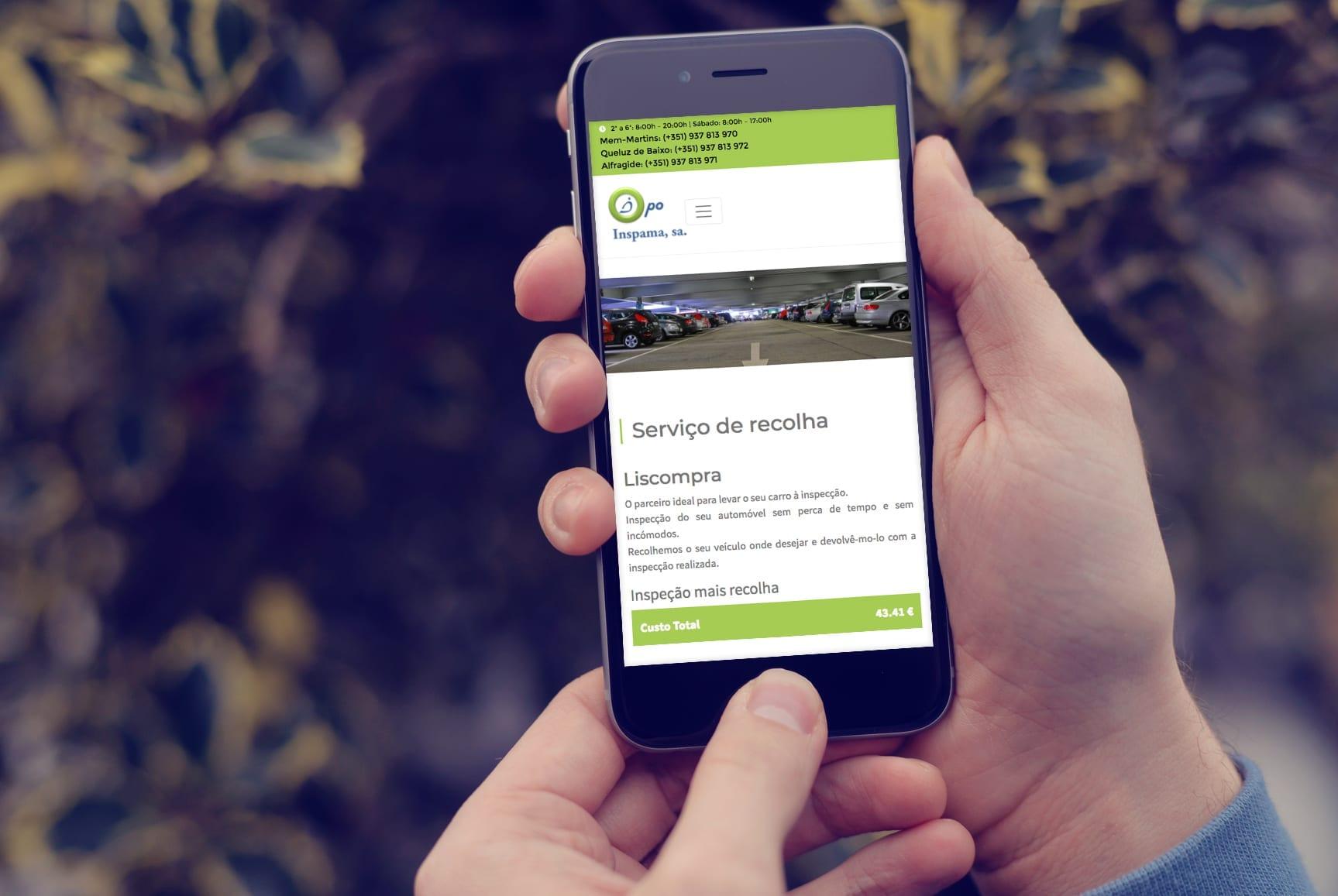 Dispositivo móvel representativo do site Inspama