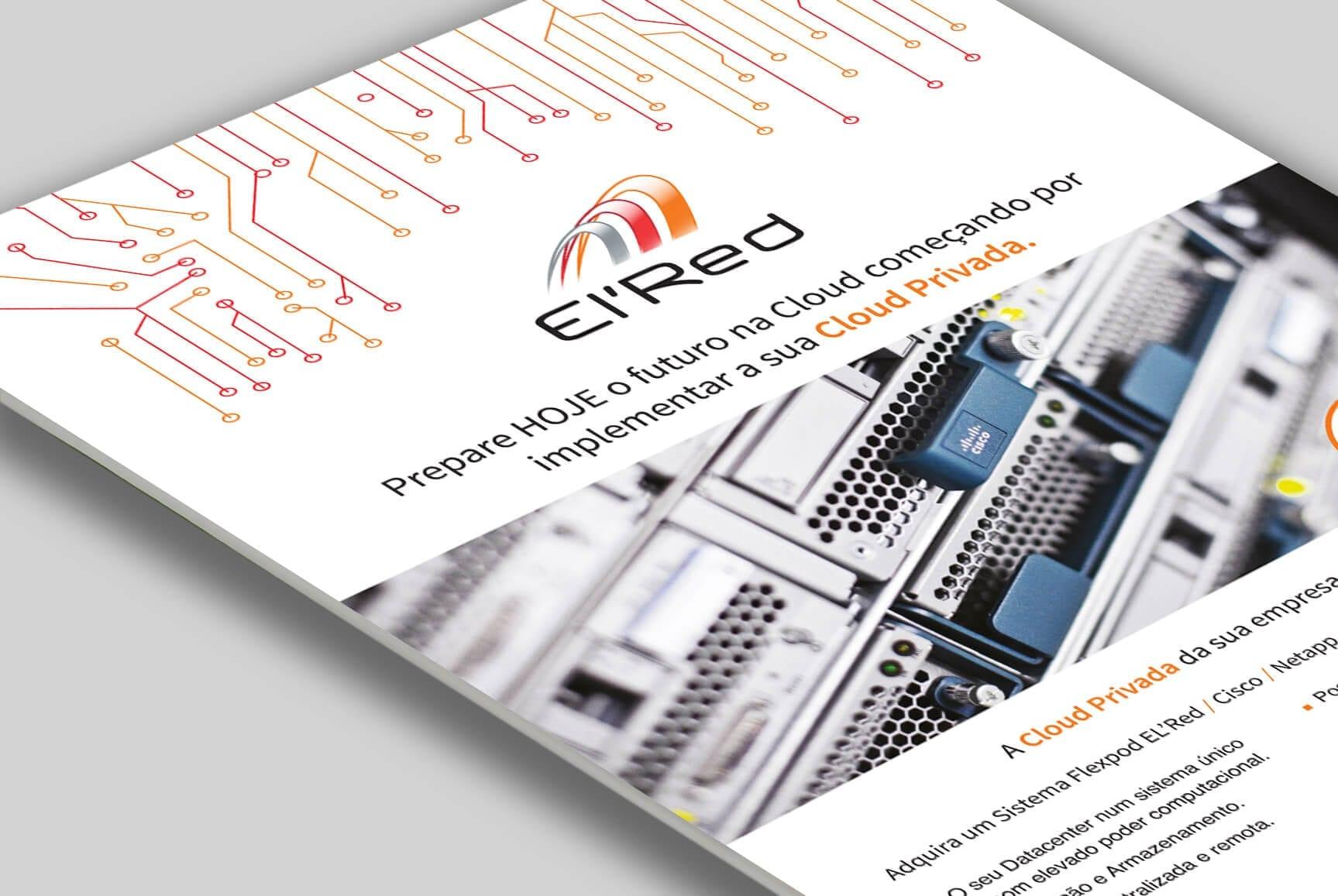 Proposta gráfica de folheto A4 sobre serviços da El'Red