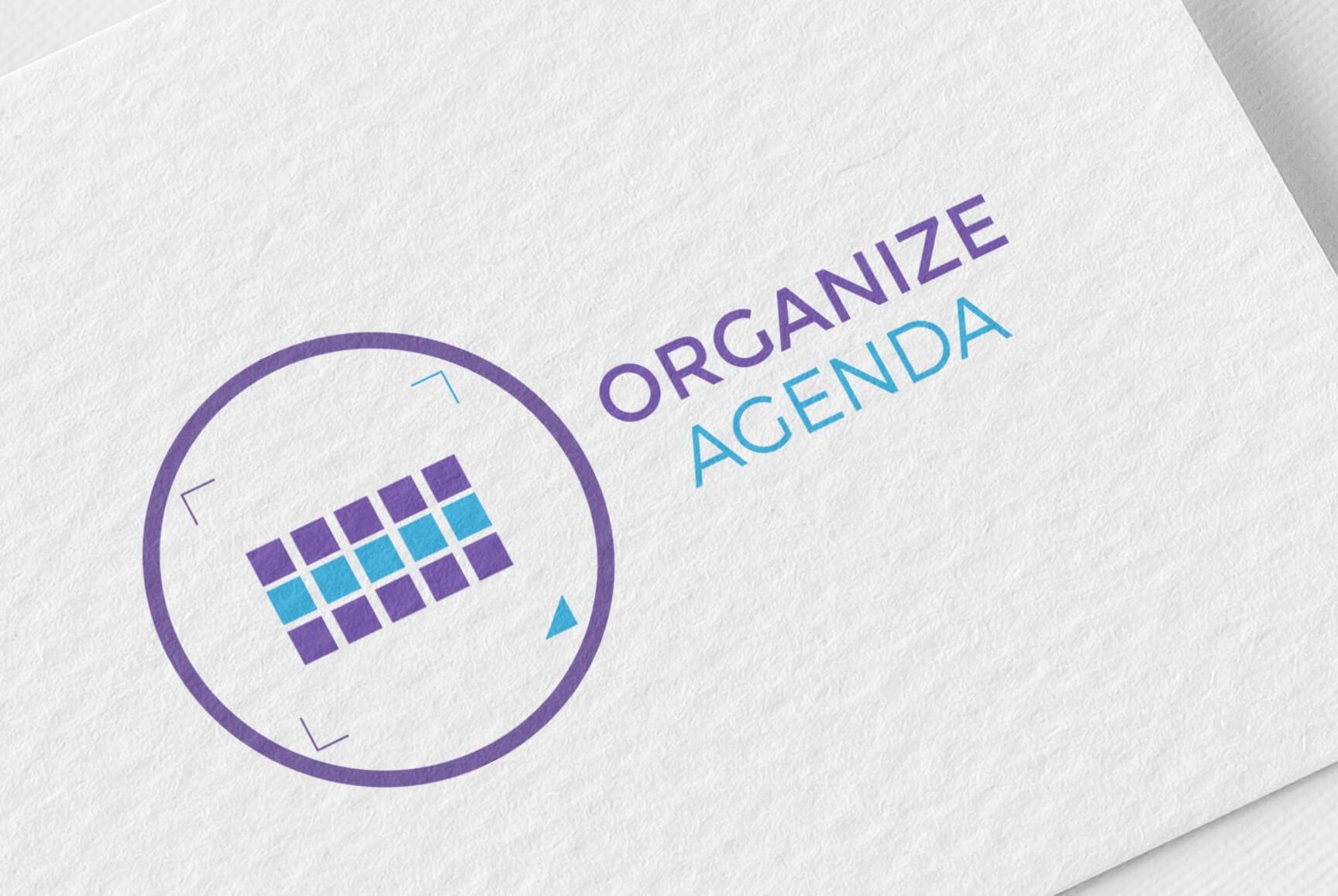 Mockup do logotipo a cores da empresa Organize Agenda