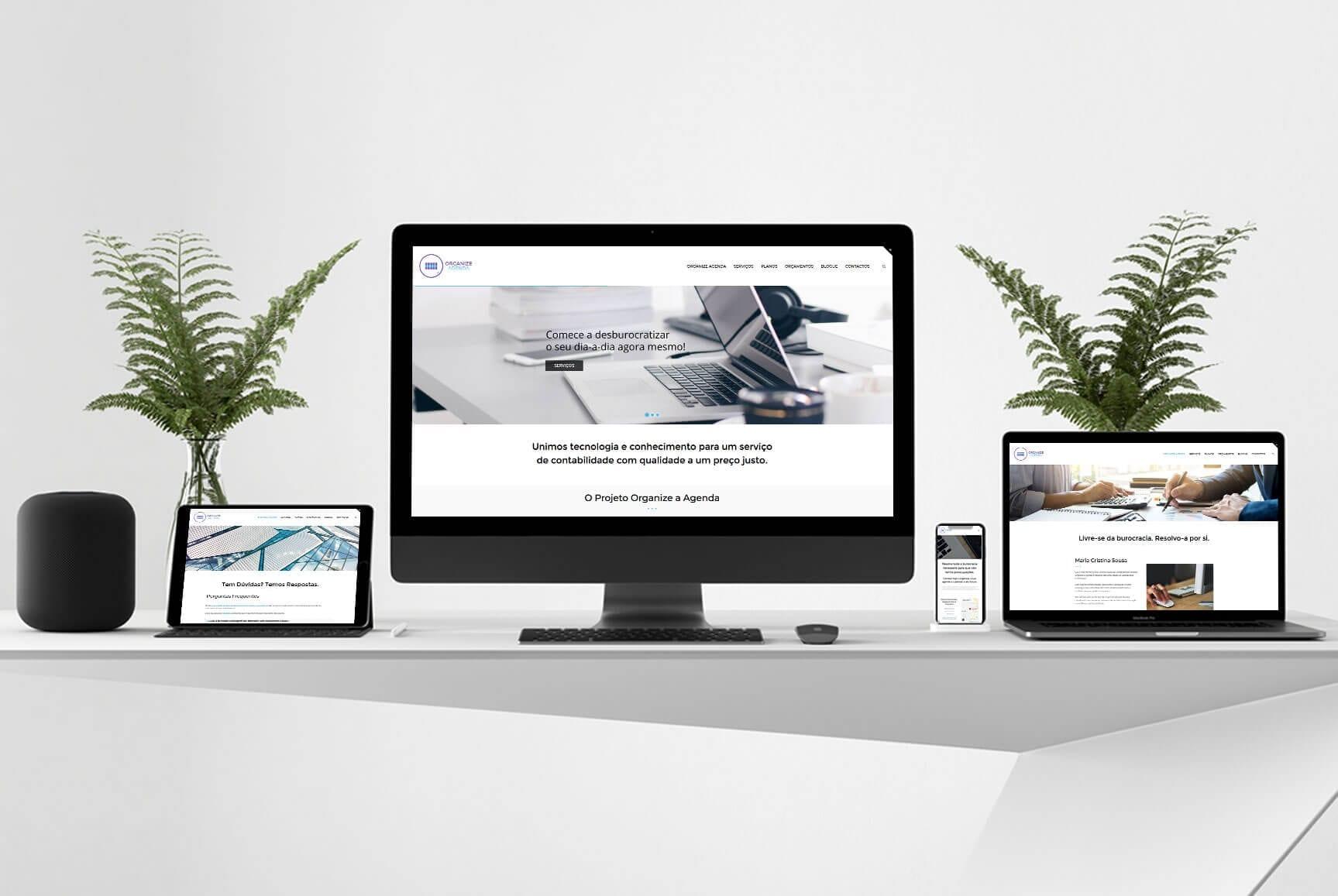 Desktop e dispositivos móveis com templates responsivos para a empresa Organize agenda