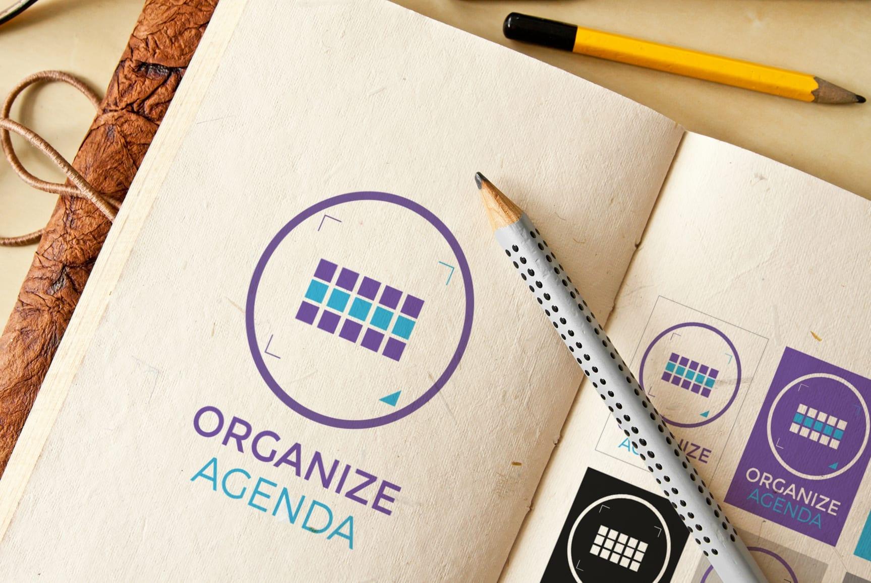 Pormenores da identidade visual da empresa Organize Agenda