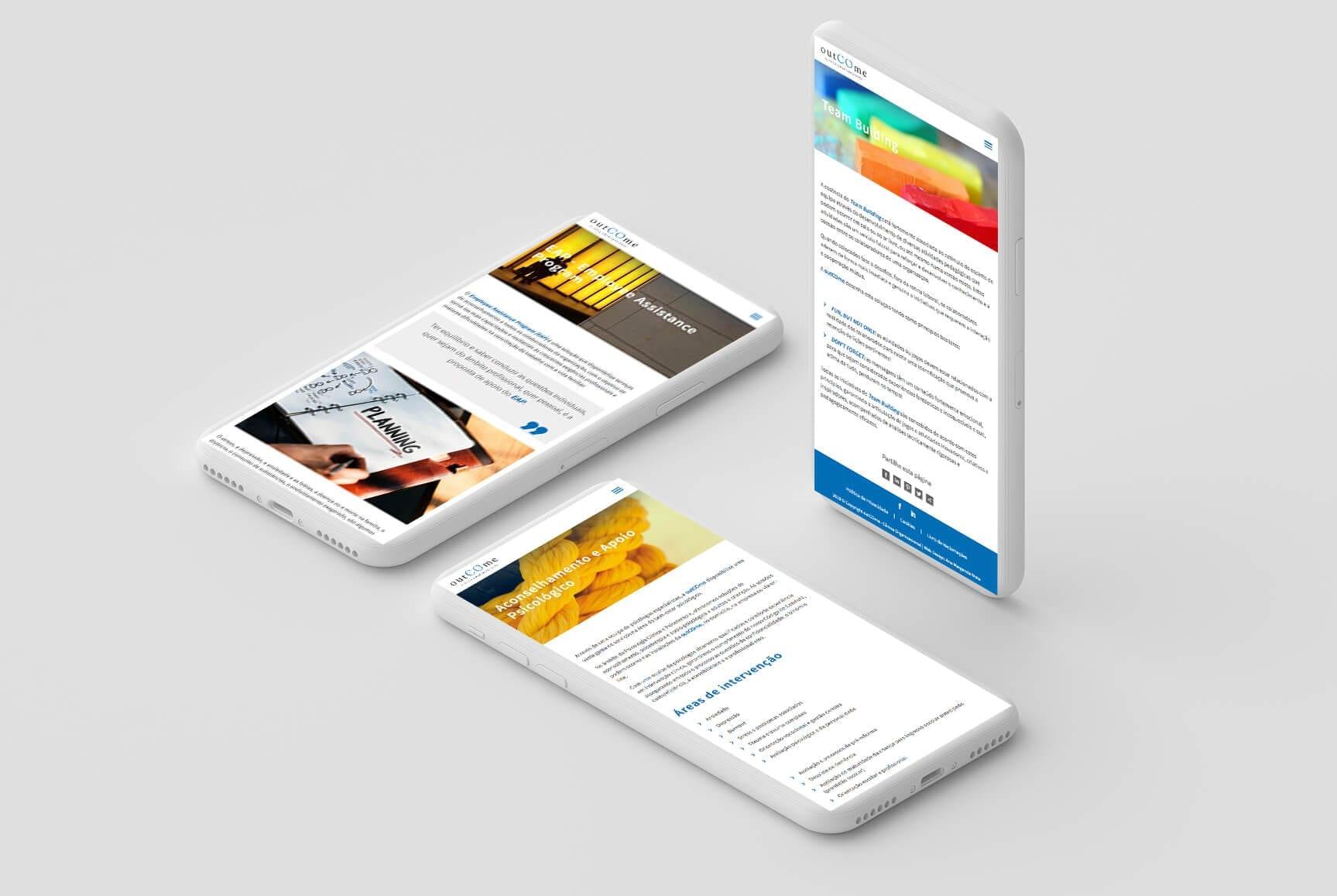 Dispositivos móveis representativos do site outCOme