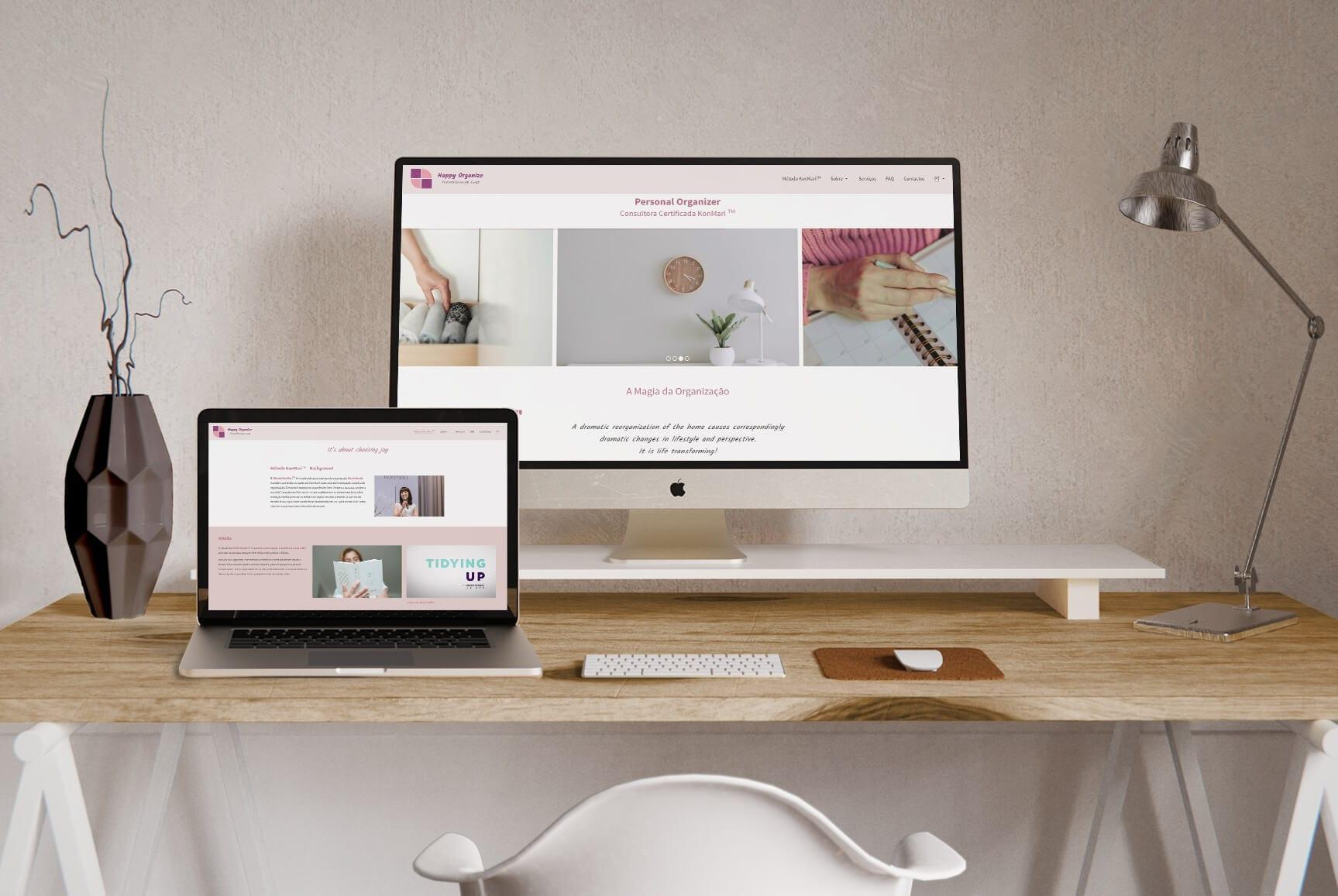 Imagem gráfica do site Happy Organize para portátil e desktop