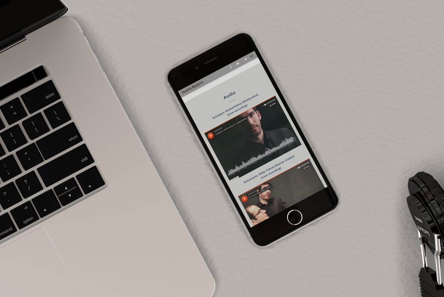 Site de cantor lírico versão mobile